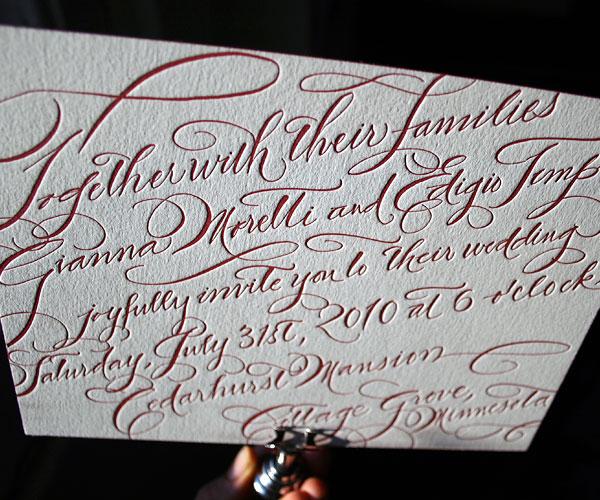 New Calligraphy Letterpress Wedding Invitation 1