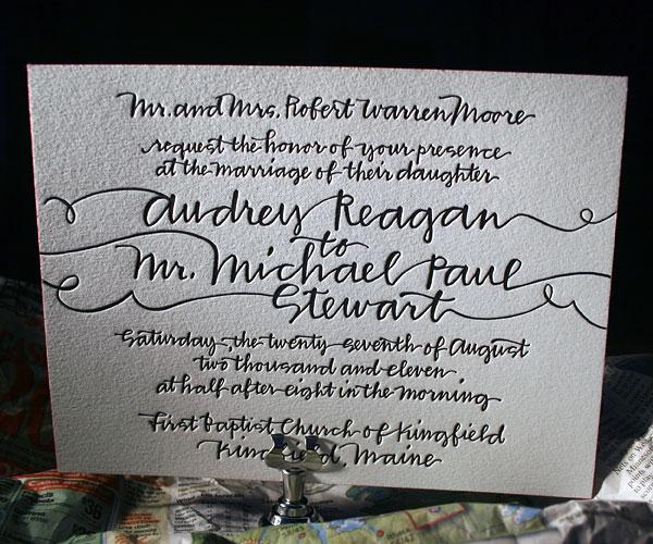 String Calligraphy Letterpress Wedding Invitation 1