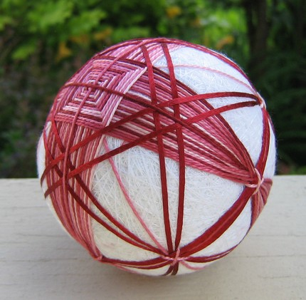 Raspberry - hand embroidered thread ball - japanese temari