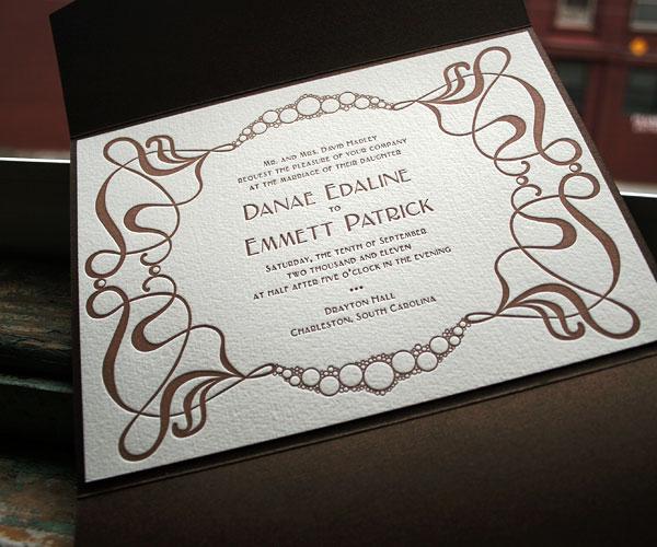 Emile Letterpress Wedding Invitation 1