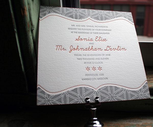 Ollie Letterpress Wedding Invitation 1