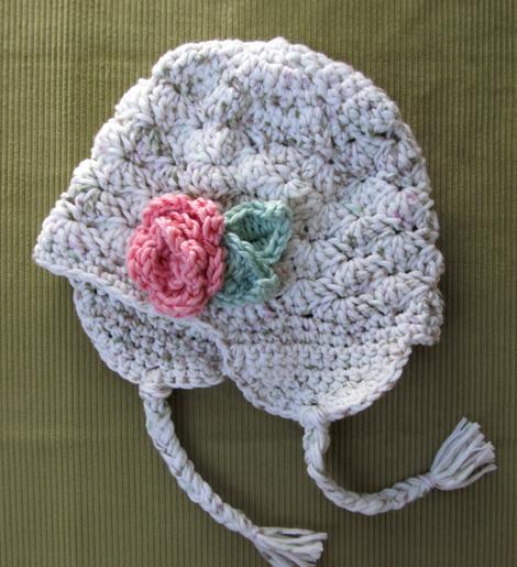Just Jen Crochet Rosette Earflap Hat